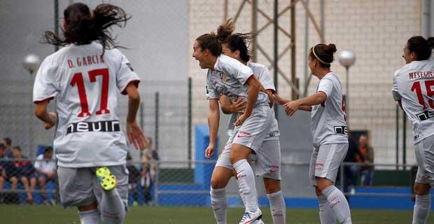 Priscila Borja celebra uno de sus goles al Levante. Fuente: Atlético de Madrid