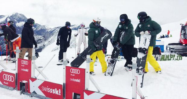 El equipo español de snowboardcross durante un entrenamiento. Fuente: RFEDI