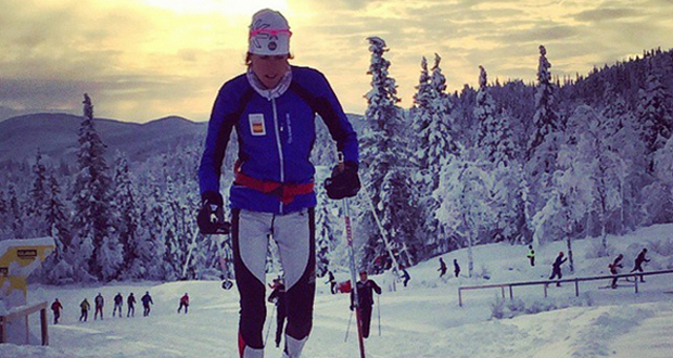 La deportista del equipo español de esquí de fondo, Laura Orgué, durante una carrera. Fuente: Laura Orgué
