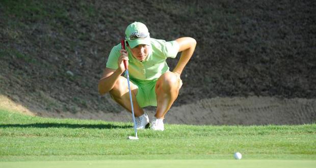 La golfista navarra, Carlota Ciganda, durante un torneo. Fuente: Rfegof