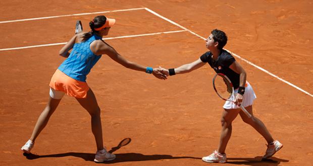 Garbiñe Muguruza y Carla Suárez en un torneo esta temporada. Fuente: Madrid Open