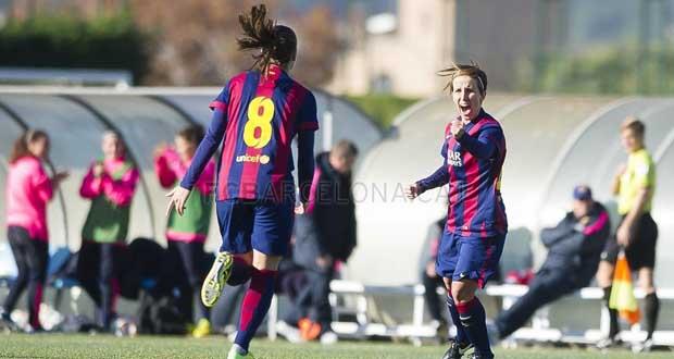 Sonia Bermúdez celebra un gol del FC Barcelona. Fuente: Víctor Salgado-FCB
