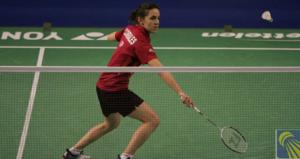 La jugadora española de bádminton, Beatriz Corrales, durante un partido. Fuente: badminton.es