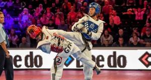 Eva Calvo en un combate. Fuente: Fetaekwondo