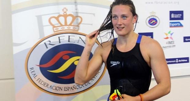La sirena española, Mireia Belmonte, en un campeonato de España. Fuente: RFEN