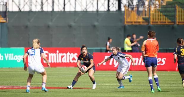 Partido de las 'leonas' del rugby seven español en las Series Mundiales de Dubai. Fuente: Ferugby