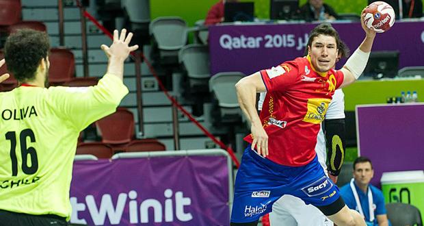 Álex Dujshebaev en el encuentro frente a Chile en el Mundial. Fuente: JL Recio