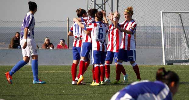 Las jugadoras del Atlético celebran uno de los goles al Sporting Huelva. Fuente: ATM