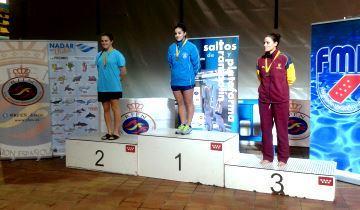 Podio de 3 m femenino con Velázquez, Claudia Gilabert y Leyre Eizaguirre. Fuente: RFEN