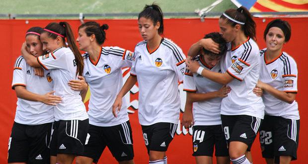 Las jugadoras del Valencia celebran un gol. Fuente: VCF