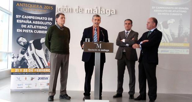 José María Odriozola, Enrique López Cuenca, el presidente de la Diputación de Málaga, Elías Bendodo y el alcalde de Antequera, Manuel Barón. Fuente: AD