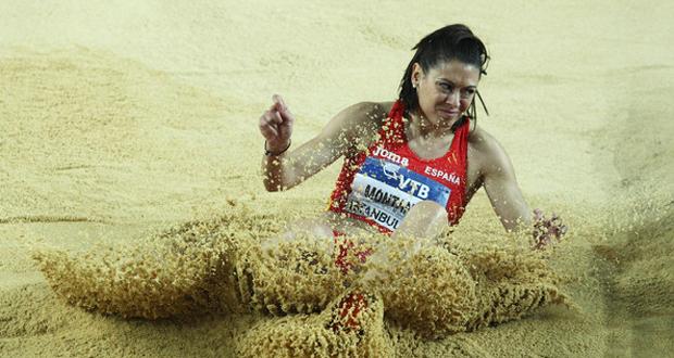 La saltadora de longitud, Concha Montaner, 11 veces campeona de España en pista cubierta. Fuente: Getty Images