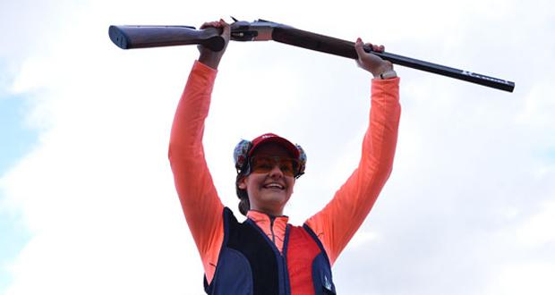 La madrileña Eva Clemente celebra su victoria en foso olímpico. Fuente: tiroolímpico