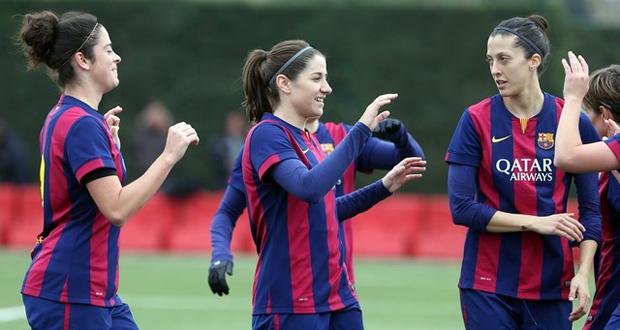 Las jugadoras del Femenino celebran uno de los goles conseguidos ante el Sant Gabriel. Fuente: Miguel Ruiz-FCB