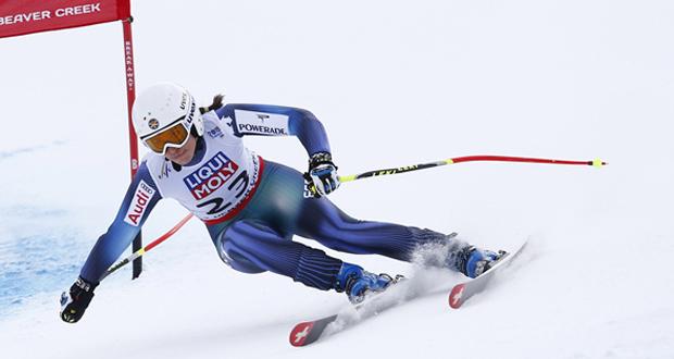 La esquiadora granadina, Carolina Ruiz, durante la prueba de súpergigante del Mundial. Fuente: Pentaphoto