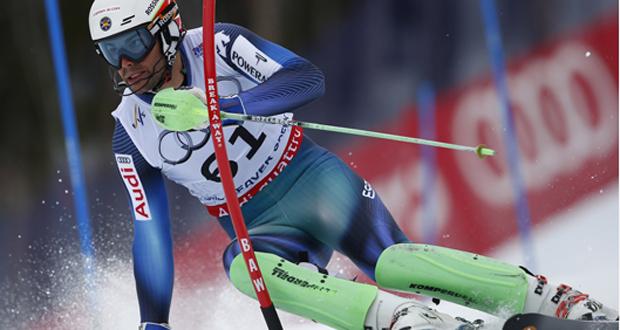 El esquiador catalán, Quim Salarich, durante el eslalon en el Mundial. Fuente: Pentaphoto