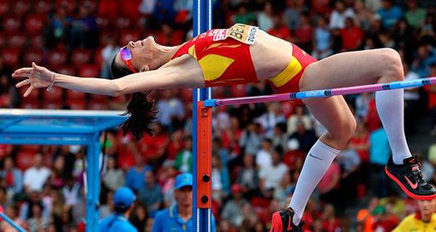 La saltadora cántabra, Ruth Beitia, durante una competición. Fuente: RFEA