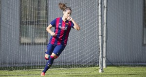 Vicky tras marcar un gol con el Barcelona. Fuente: FCB