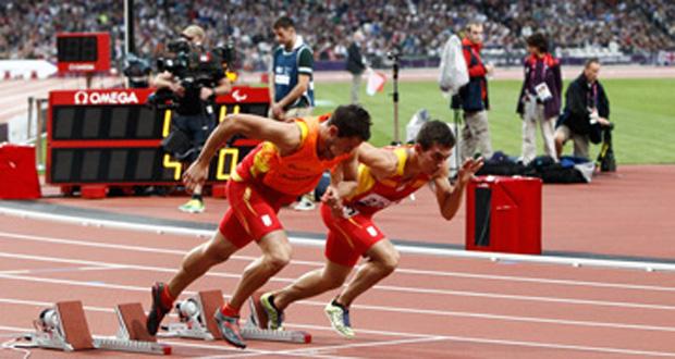 El atleta ciego tarraconense Gerard Descarrega y su guía, Marcos Blanquiño. Fuente: CPE