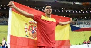 Torrijos celebra la plata. Fuente: European Athletics