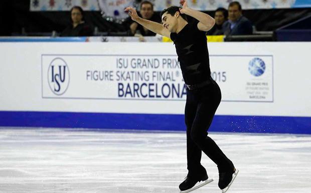 El patinador español, Javier Fernández, durante su programa corto en el Grand Prix de Barcelona. Fuente: Fedhielo