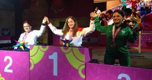 Loida Zabala, en el podio. Fuente: AD