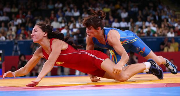 La luchadora alavesa, Maider Unda, durante un combate en los Juegos de Londres. Fuente: maiderunda.com