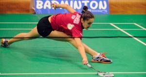 Clara en un partido. Fuente: badminton europe