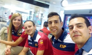 Galia Dvorak, Carlos Machado, Álvaro Robles y Marc Durán antes de partir para Baku. Fuente: AD