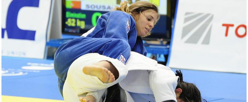 La judoka Laura Gómez durante un combate.