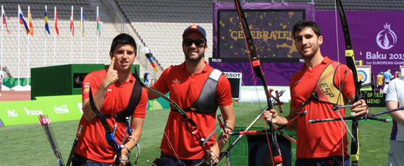 Los arqueros Miguel Alvariño, Antonio Fernández 'Yiyo' y Juan Ignacio Rodríguez.