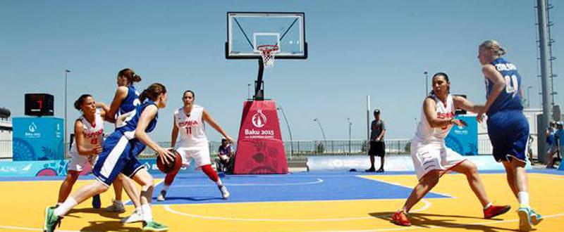 La selección femenina española de basket 3x3 en Baku. Fuente: COE