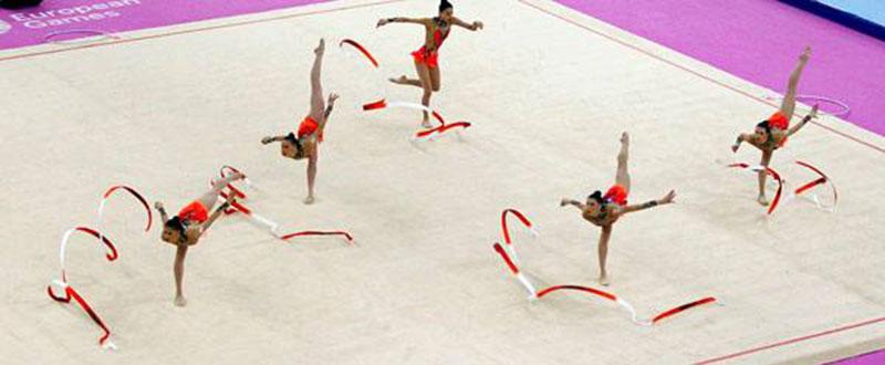 Las chicas de la gimnasia rtmica rozan el podio en 5 cintas