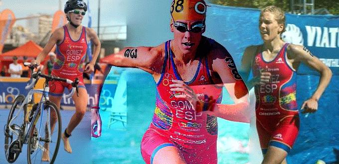 La triatleta Tamara Gómez en las pruebas de bicicleta, natación y carrera a pie. Fuente: AD