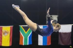La gimnasta de trampolín.