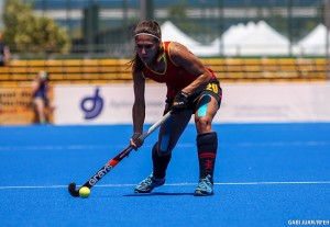 Las 'Redsticks' durante la Hockey World League que se disputa en Valencia. Fuente: Rfeh