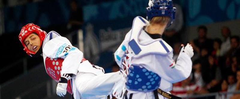 La taekwondista española, Eva Calvo, en el combate por el bronce en Baku. Fuente: COE
