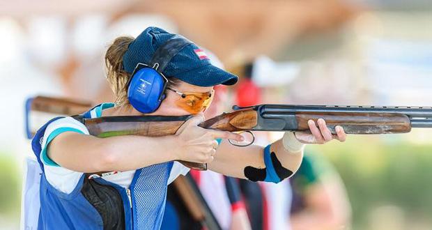 La tiradora Fátima Gálvez durante una competición de tiro al plato. Fuente: AD