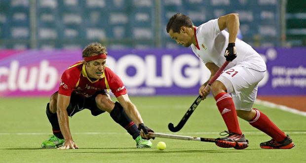 Una acción del partido entre España y Canadá en la World League. Fuente: RFEH