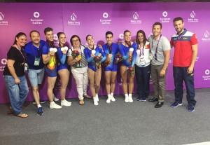 El equipo español de gimanasia aeróbica durante los Juegos Europeos de Baku. Fuente: Rfeg