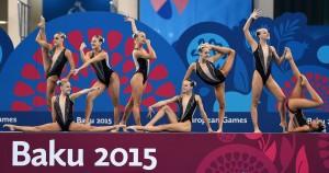 El equipo de sincronizada en modalidad de combo durante su ejercicio en Baku. Fuente: Baku2015