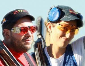 La pareja española para la prueba mixta de foso olímpico: Alberto Fernández y Fátima Gálvez. Fuente: AD