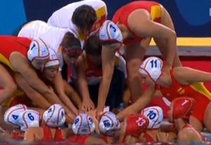 La selección femenina de waterpolo durante la competición en los Juegos Europeos de Baku. Fuente: COE