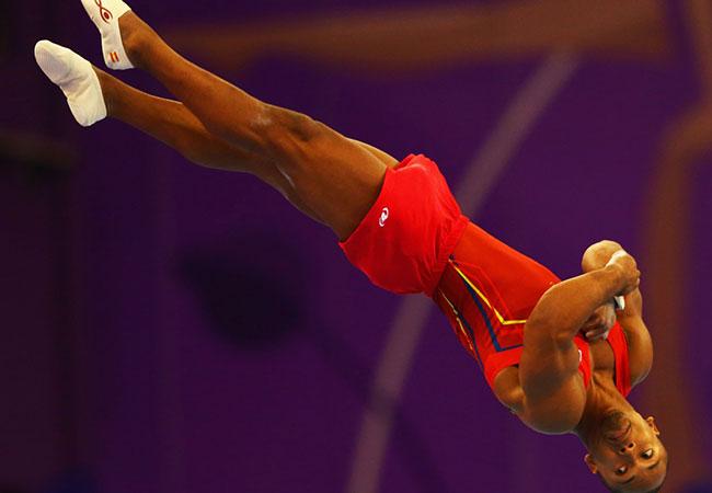 Rayderley Zapata durante la final de suelo de gimnasia artística. Fuente: baku2015.com