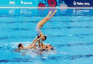 La selección española juvenil de sincronizada durante su ejercicio. Fuente: COE