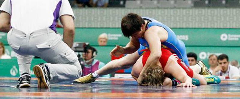 La luchadora española, Maider Unda, en el combate por el bronce en los Juegos Europeos de Baku. Fuente: COE