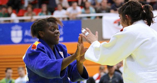 La judoka María Bernabéu durante un combate. Fuente: AD
