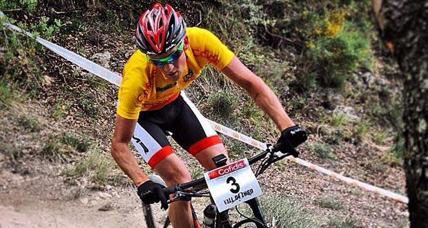 El biker Pablo Rodríguez durante una competición de mountain bike. Fuente: PR