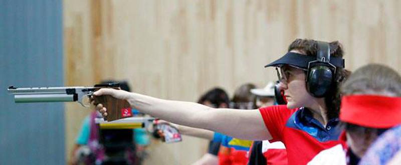 La 'pistolera' tarraconense Sonia Franquet durante su participación en Baku. Fuente: COE