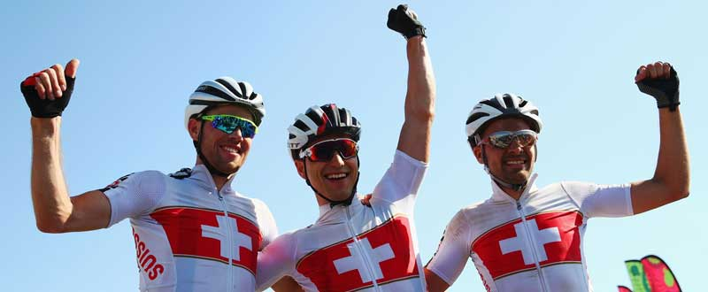 Lukas Fluckiger, Nino Schurter and Fabian Giger. Fuente: Michael Steele/Getty Images